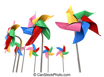 Colorful Pinwheels Isolated - An array regular toy pinwheel...