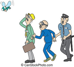 worker, pickpocket, policeman, fly - Policeman catching...