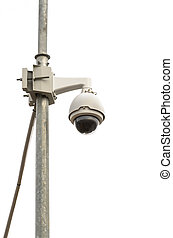 Security cameras isolated on white background