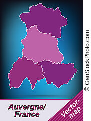 Map of auvergne with borders in violet