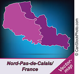Map of North-pas-de-calais with borders in violet