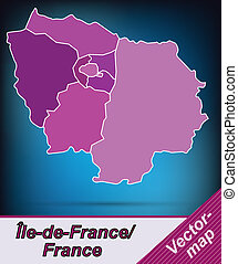 Map of Ile-de-France with borders in violet