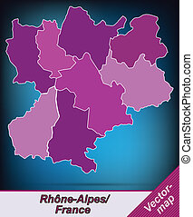 Map of Rhone-Alpes with borders in violet
