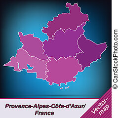 Map of Provence-Alpes-Cote d Azur with borders in violet