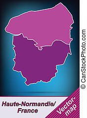 Map of Upper Normandy with borders in violet