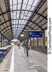 iron classicistic train station in Wiesbaden without people