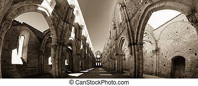 famous ruins of the abbey of San Galgano. Tuscany, Italy.