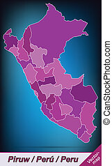 Map of Peru with borders in violet