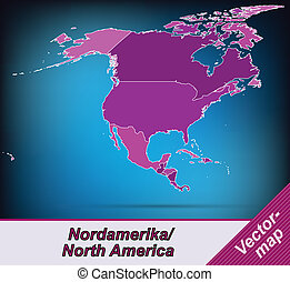 Map of North America with borders in violet