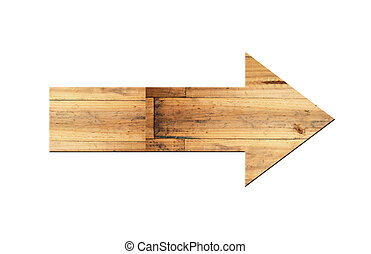 Directional arrow made of old wood surface. - Directional...
