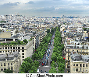 Champs Elysees in Paris France