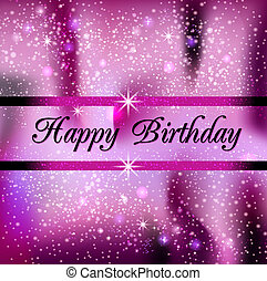 Happy Birthday - Square greeting card Happy Birthday in pink