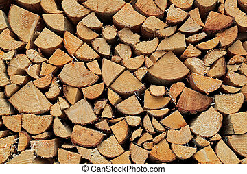 Background of Chopped and Stacked Firewood