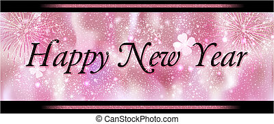 Happy New Year - Greeting card Happy New Year in pink