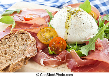 Mozzarella, smoked ham and fresh tomatoes - Mozzarella,...