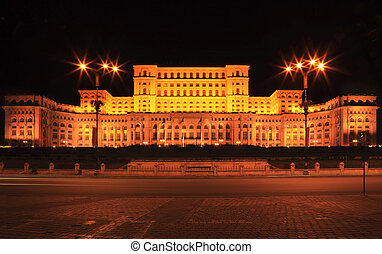 The Palace of the Parliament,Bucharest,Romania-night image -...