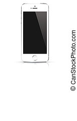 Modern white smart phone isolated.