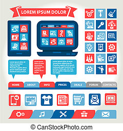 web and mobile flat design elements