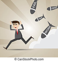 cartoon businessman avoid social turmoil - illustration of...