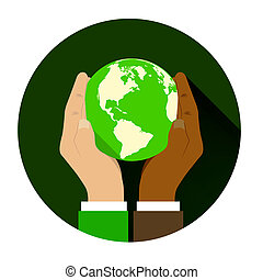 mix of two different races holding hands globe. The concept...