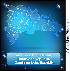 Map of Dominican Republic with borders with bright colors