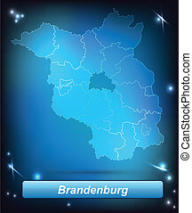 Map of Brandenburg with borders with bright colors