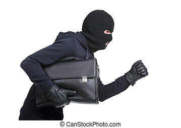 Criminality - Portrait of running male burglar with a...