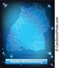 Map of Baden-Wuerttemberg with borders with bright colors