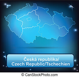 Map of Czech Republic with borders with bright colors