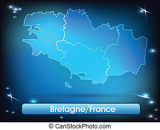 Map of Brittany with borders with bright colors
