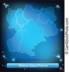 Map of Rhone-Alpes with borders with bright colors