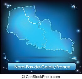 Map of North-pas-de-calais with borders with bright colors