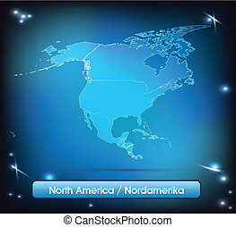 Map of North America with borders with bright colors