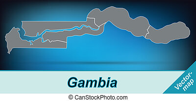 Map of Gambia with borders in bright gray