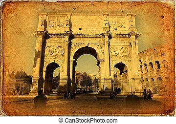 Rome - Arch of Constantine (Arco di Costantino), a triumphal...