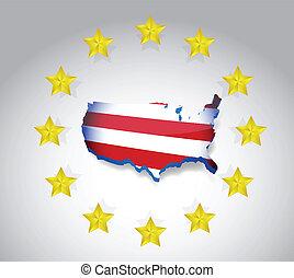 stars and us flag map illustration design