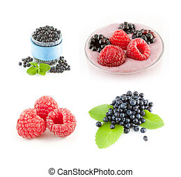 Raspberries and blueberries on white background. Fruit smoothie.