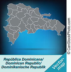 Map of Dominican Republic with borders in bright gray