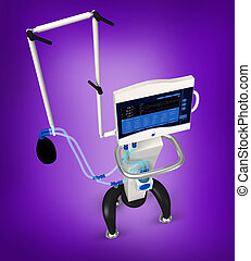 medical hospital ventilator respir - digital illustration of...
