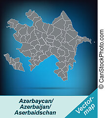 Map of Azerbaijan with borders in bright gray