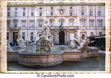Rome - View of Fontana del Moro, in Piazza Navona, Rome,...