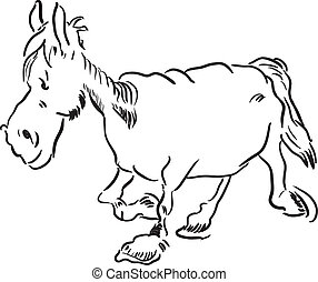 Old horse - Running an old nag. Vector illustration without...