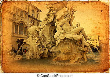 Rome - Fountain of the Four Rivers (Fontana dei Quattro...