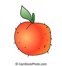 Peach - Childish Illustration Isolated  Peach