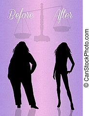 before and after diet - illustration of before and after...