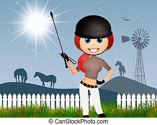 girl makes horse riding - illustration of girl makes horse...