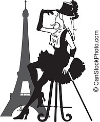 Graphic silhouette of a cabaret woman