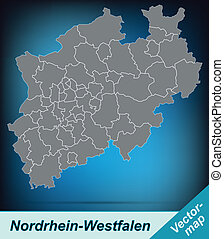 Map of North Rhine-Westphalia with borders in bright gray