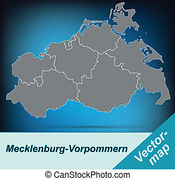 Map of Mecklenburg-Western Pomerania with borders in bright...