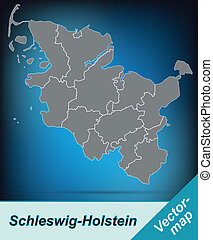 Map of Schleswig-Holstein with borders in bright gray